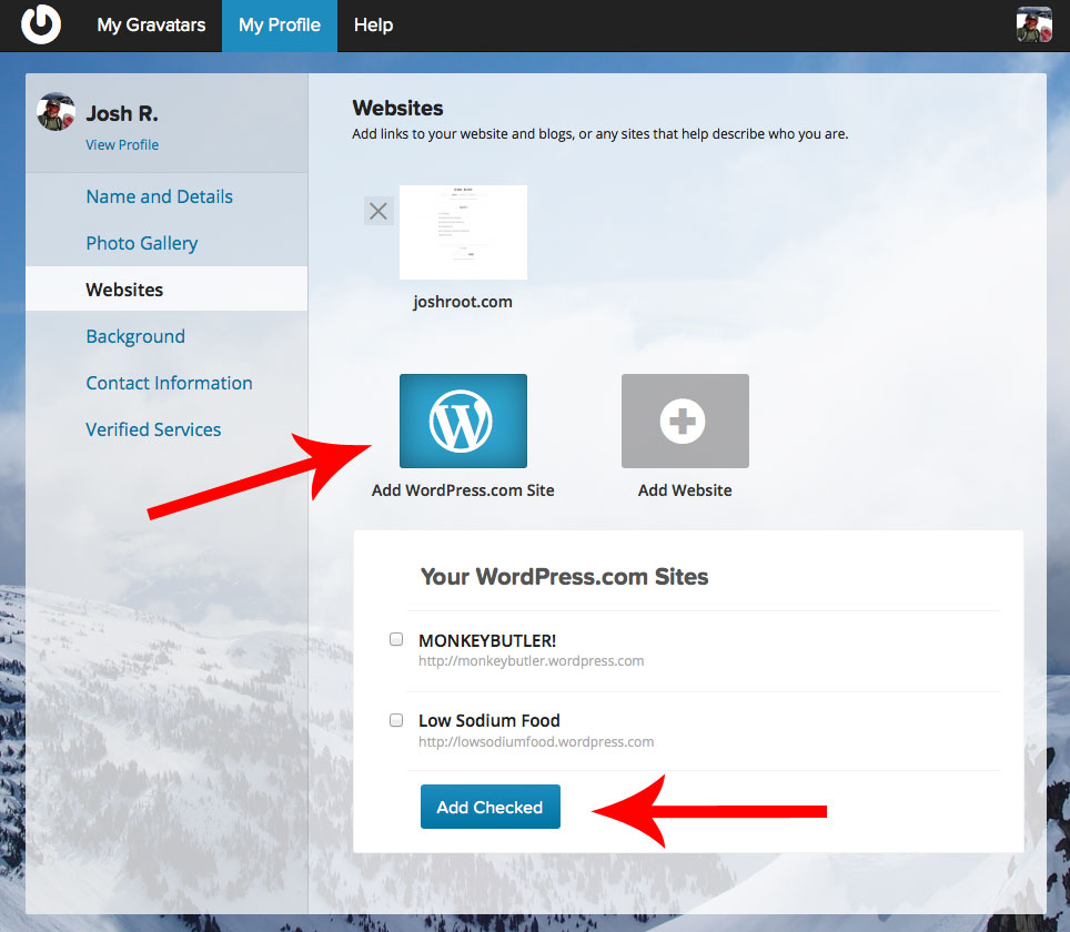Choose from your WordPress.com sites to add to your profile.